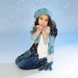 Zima dziewczyny Podmuchowy Śnieg Obrazy Royalty Free