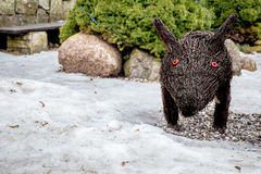 Zima dziki knur po śniegu Fotografia Royalty Free
