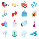 Zima elementów ikony ustawiać, isometric 3d styl Fotografia Stock