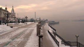 Zima evening Rosja Irkutsk na Angara rzeki bulwarze Zdjęcie Stock