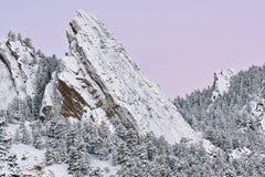 Zima, Flatirons przy świtem fotografia stock