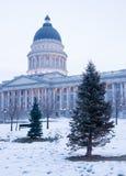 Zima Głęboka - marznie wschodu słońca Utah Krajobrazową stolicę kraju obraz stock