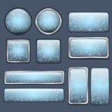 Zima glansowani błękitny guziki Zdjęcia Stock