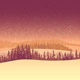 Zima iglasty las w ranku. Ilustracja Wektor
