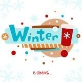 Zima jest nadchodzącym kartka z pozdrowieniami Fotografia Stock