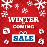 Zima jest nadchodzącym sprzedaży tłem. Bożenarodzeniowa sprzedaż. Obraz Stock