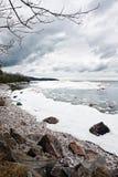 Zima jeziora krajobraz Zdjęcie Stock