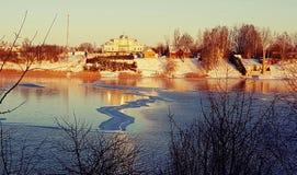 Zima jeziora krajobraz Obraz Royalty Free