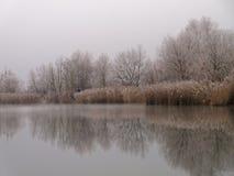 Zima jeziora krajobrazu idylla Obrazy Royalty Free
