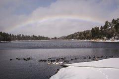 Zima jeziora tęcza Obrazy Stock