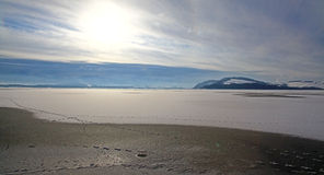 Zima jezioro Obrazy Stock