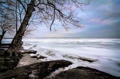 Zima jezioro Erie obrazy stock
