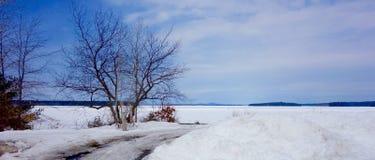 Zima jezioro w Maine marznącym Zdjęcia Royalty Free