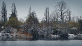Zima jezioro w opadzie śniegu zbiory wideo