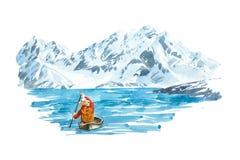 Zima jezioro z halnym tłem, naturalny krajobraz royalty ilustracja