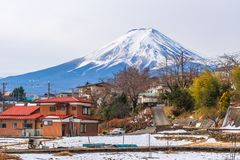Zima Kawaguchiko, Fuji góra, Japonia obraz royalty free