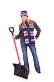 Zima: Kobiety mienia Śnieżna łopata obrazy stock