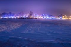 Zima krajobraz - światła Obrazy Royalty Free