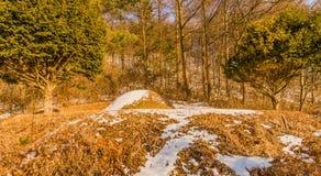 Zima krajobraz anonimowy pogrzeb zdjęcia royalty free