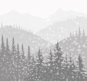 Zima krajobraz (góra) - ilustracji