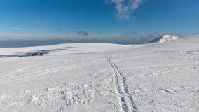 Zima krajobraz Krkonose góry z Snezka wzgórzem Piękny zima krajobraz Krkonos na słonecznym dniu Zdjęcie Royalty Free