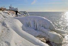 Zima krajobraz na jeziornym Baikal, Syberia, Rosja Obrazy Royalty Free
