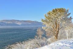Zima krajobraz na jeziornym Baikal, Syberia, Rosja Fotografia Royalty Free