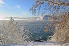 Zima krajobraz na jeziornym Baikal, Syberia, Rosja Fotografia Stock