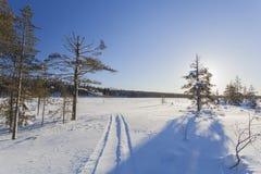 Zima krajobraz na słonecznym dniu Obrazy Royalty Free