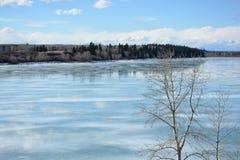 Zima krajobraz odbicie na lodowatym jeziorze obraz royalty free