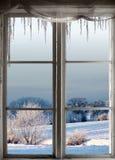 Zima krajobraz przez okno Zdjęcia Royalty Free