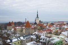 Zima krajobraz stary Tallinn Estonia Fotografia Stock
