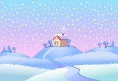 Zima krajobraz w dniu ilustracji
