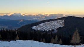 Zima krajobraz w Karpackich górach Obrazy Royalty Free