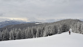 Zima krajobraz w Karpackich górach Obraz Stock