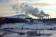 Zima krajobraz w megacity Zdjęcia Stock