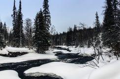 Zima krajobraz w rosjaninie Lapland, Kola półwysep Fotografia Royalty Free