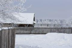 Zima krajobraz w wiosce Obrazy Stock