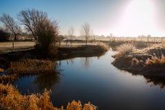 Zima krajobraz w wsi zdjęcia royalty free