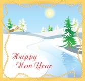 Zima krajobraz z śnieżystymi jedlinowymi drzewami i zamarzniętą rzeką ilustracji