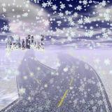Zima krajobraz z autostradą prowadzi miasto ilustracja wektor