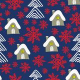 Zima krajobraz z chałupą, czerwonymi sowflakes i choinkami, abstrakcjonistycznych gwiazdkę tła dekoracji projektu ciemnej czerwie ilustracja wektor