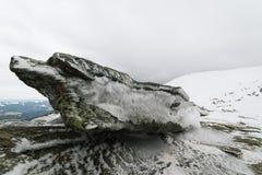 Zima krajobraz z chmurnym dniem Zdjęcia Stock