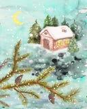 Zima krajobraz z domem i jodłami, akwarela obraz ilustracji