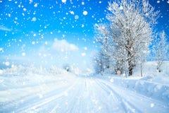 Zima krajobraz z drogą Zdjęcia Stock