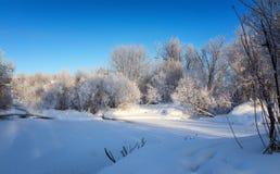 Zima krajobraz z drzewami w mrozie blisko zamarzniętego strumienia, Rosja, Ural Obraz Stock