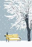 Zima krajobraz z kotem w śnieżystym parku royalty ilustracja