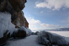Zima krajobraz z lodem Zdjęcie Royalty Free