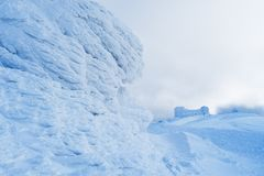 Zima krajobraz z obserwatorium w górach Obrazy Stock