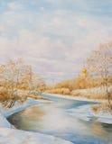 Zima krajobraz z rive Obraz Stock